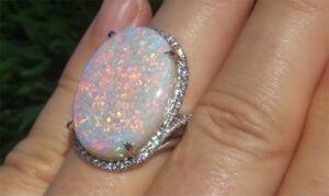 Fire-Opal-Hot-Women-925-Silver-Birthstone-Proposal-Wedding-Jewelry-Ring-Size5-10