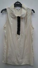 Cream Sleeveless Blouse with Black Beading from Next size 8