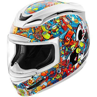 Icon Airmada Doodle Cartoon Fun Full Face Motorcycle Helmet   All Sizes