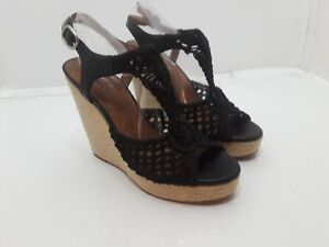 cc5f34ac170 Image is loading LUCKY-BRAND-RILO-BLACK-CROCHET-WEDGE-SANDALS-SIZE-