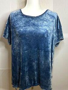 Green-Tea-Women-s-Light-Blue-Velour-T-Shirt-Size-XXL