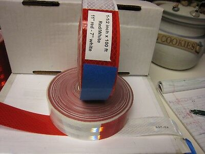 "WHITE RED Reflective   Conspicuity Tape 1-1//2/"" x 50/' 7-11"