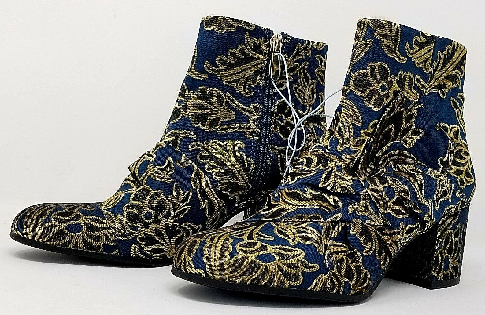 Libby Edelman holiday Veronica womens ankle boots 7 Blue Gold holiday Edelman party zipper close 0b3fed