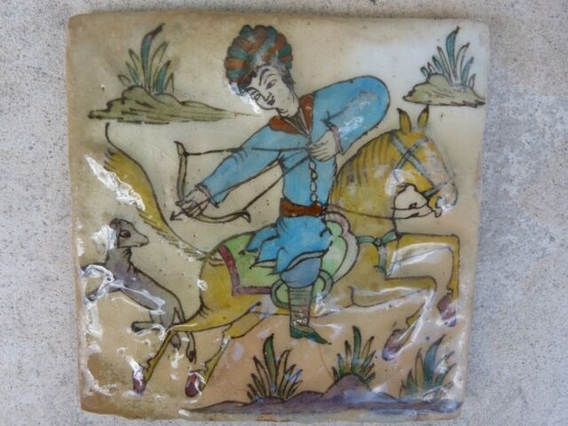 VERY FINE ANTIQUE PERSIAN TILE HUNTER ON HORSEBACK SHOOTING A LAMB
