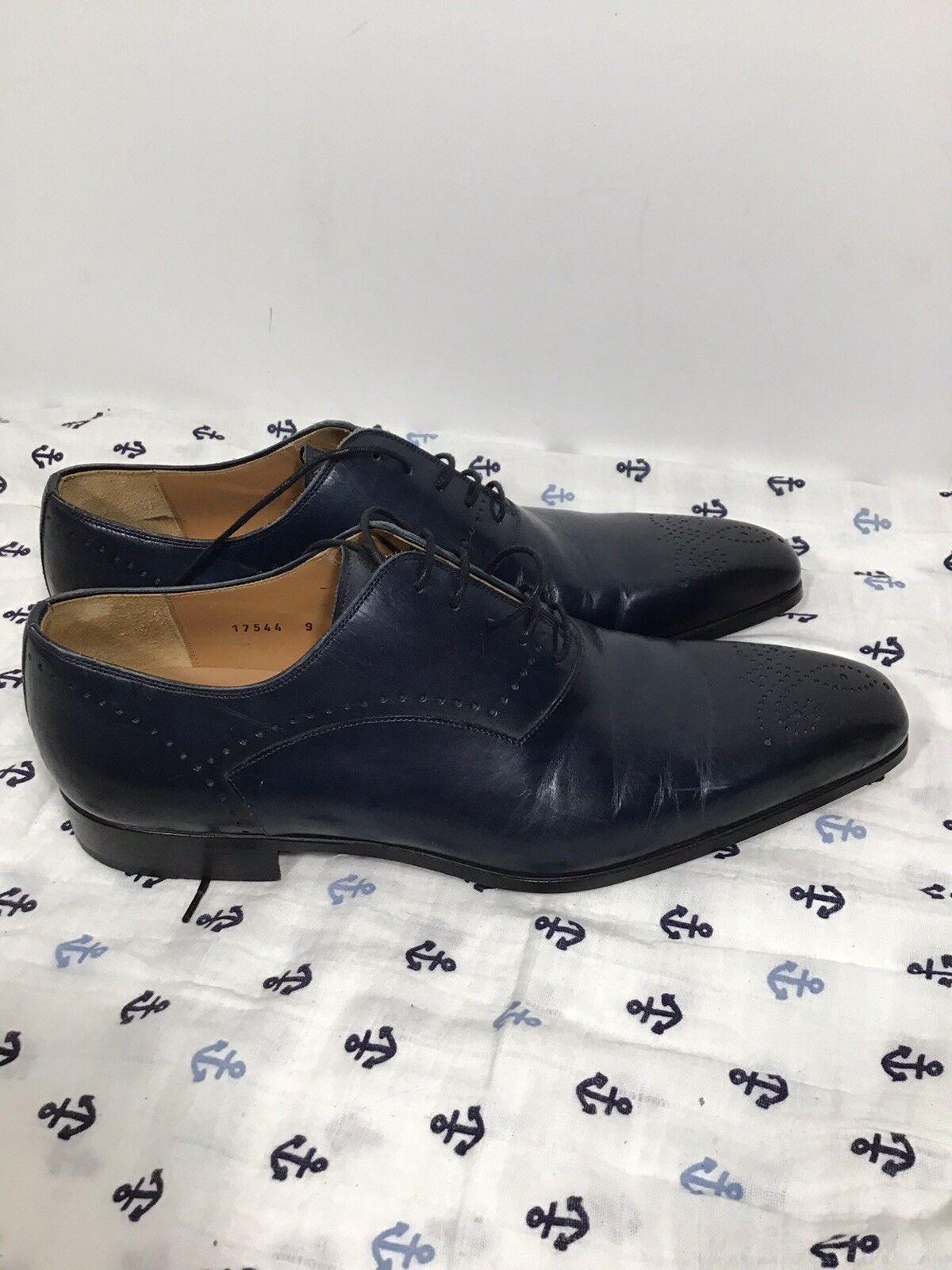 Men's MAGNANNI 'Adolfo' Navy blu Leather Medallion Toe Oxfords Dimensione US 9