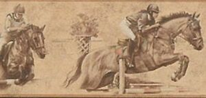 Wallpaper-Border-Horse-Racing-Jumping-Horses-Sepia-Background