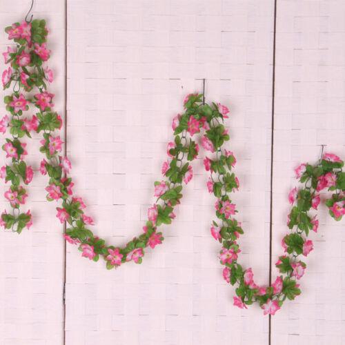 2x Artificial Fake Silk Daffodil Flower Ivy Vine Hanging Garland Home Pink
