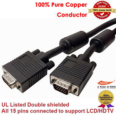6 feet M-M SVGA Super VGA M//M Cable Adaptor Monitor Projector HD15 Male to Male
