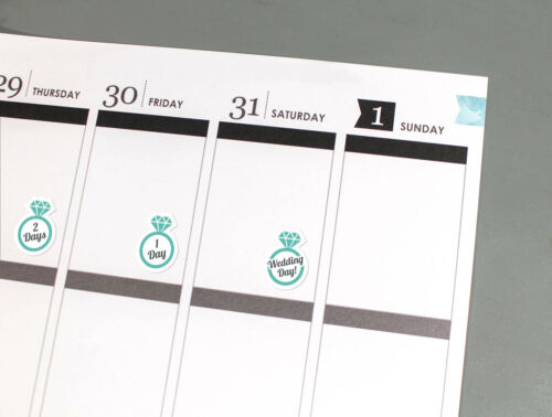Wedding Day Countdown Planner Stickers calendar marriage reminders