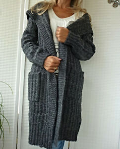 38-40-42-44-GROB-STRICKJACKE-CARDIGAN-STRICKMANTEL-KAPUZE-WARM-ANTHRAZIT