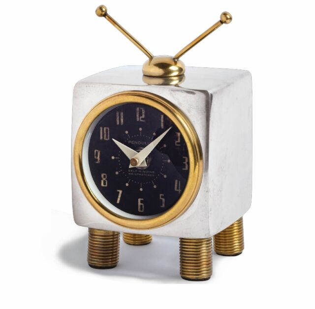 Retro Mid Century Modern TV Table Wall Clock   Desk Television Gold Silver  Brass