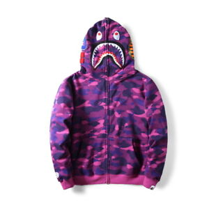 Hot-Bathing-Ape-Bape-Shark-Jaw-Men-039-s-Sweats-Coat-Jacket-Camo-Full-Zipper-Hoodie