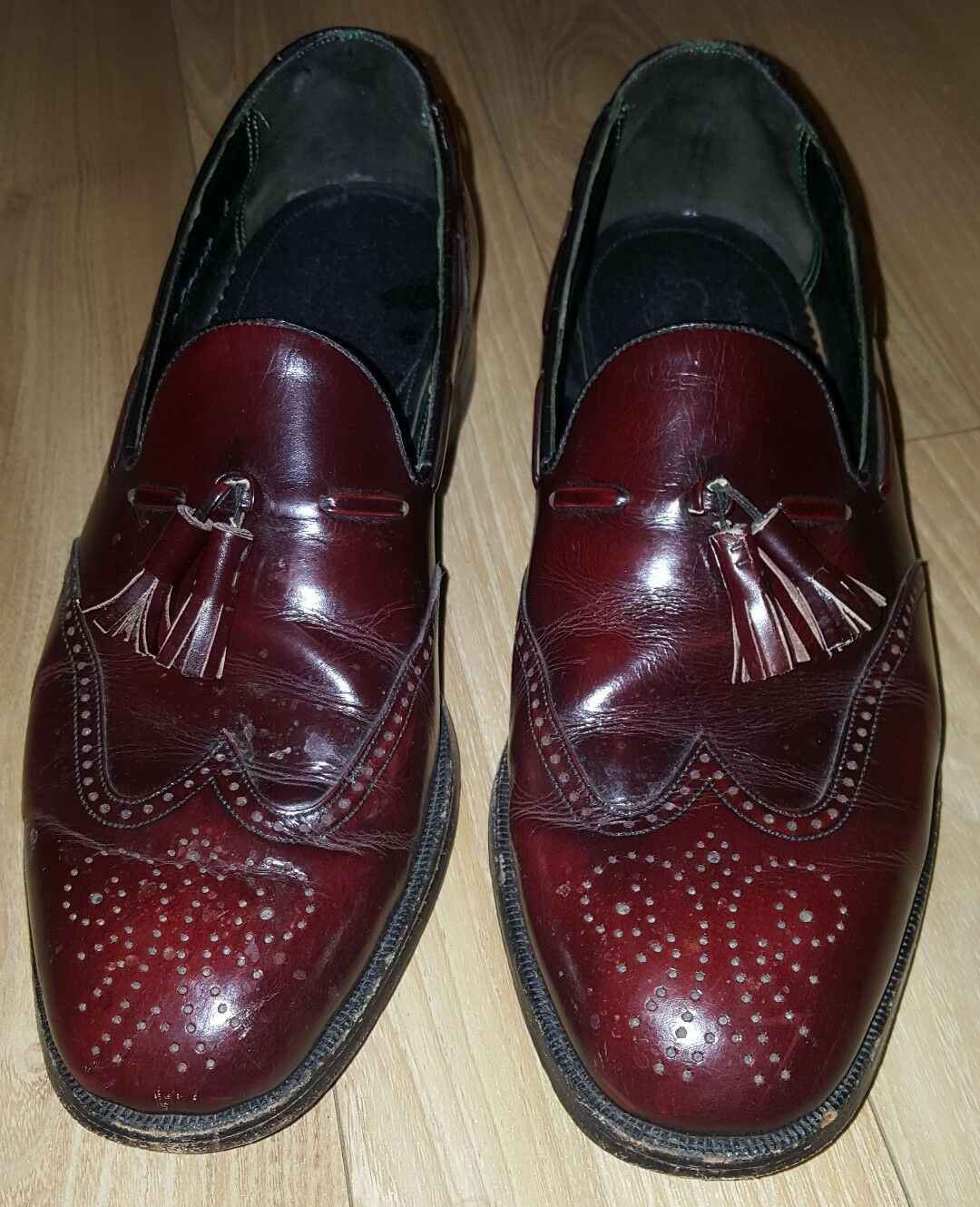 Vtg FLORSHEIM MENS TASSLE DRESS LOAFERS SZ 10 1 2 D BURGUNDY