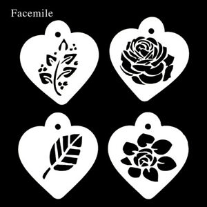 New-4pcs-Rose-Flower-Leaf-Coffee-Stencil-Cake-Embossed-Baking-Mould-Cake-Decora