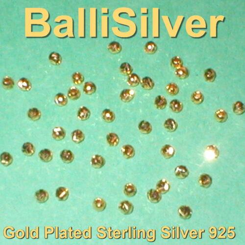 25 Pièces Plaqué Or Vermeil Argent Sterling 925 Découpe Laser 3 mm perles rondes Lot