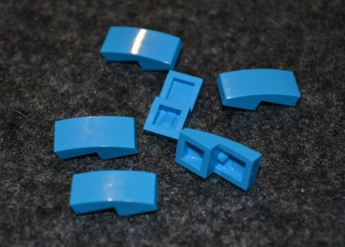 6 Rounded Top BOW Brick Bricks ~ Lego ~ NEW 1x2 Dark Azur Blue