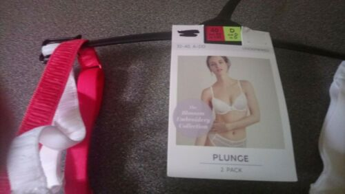 36B MARKS /& SPENCERS EMBROIDERED PADDED PLUNGE PACK OF 2 UNDERWIRED BRA  NEW