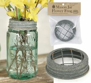 Mason-Canning-Jar-Flower-Frog-Lid-Organizer-Top-Barn-Roof-aged-galvanized-finish