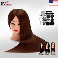 24 Real Hair Training Practice Head Mannequin Hairdressing Or Braid Tool Set