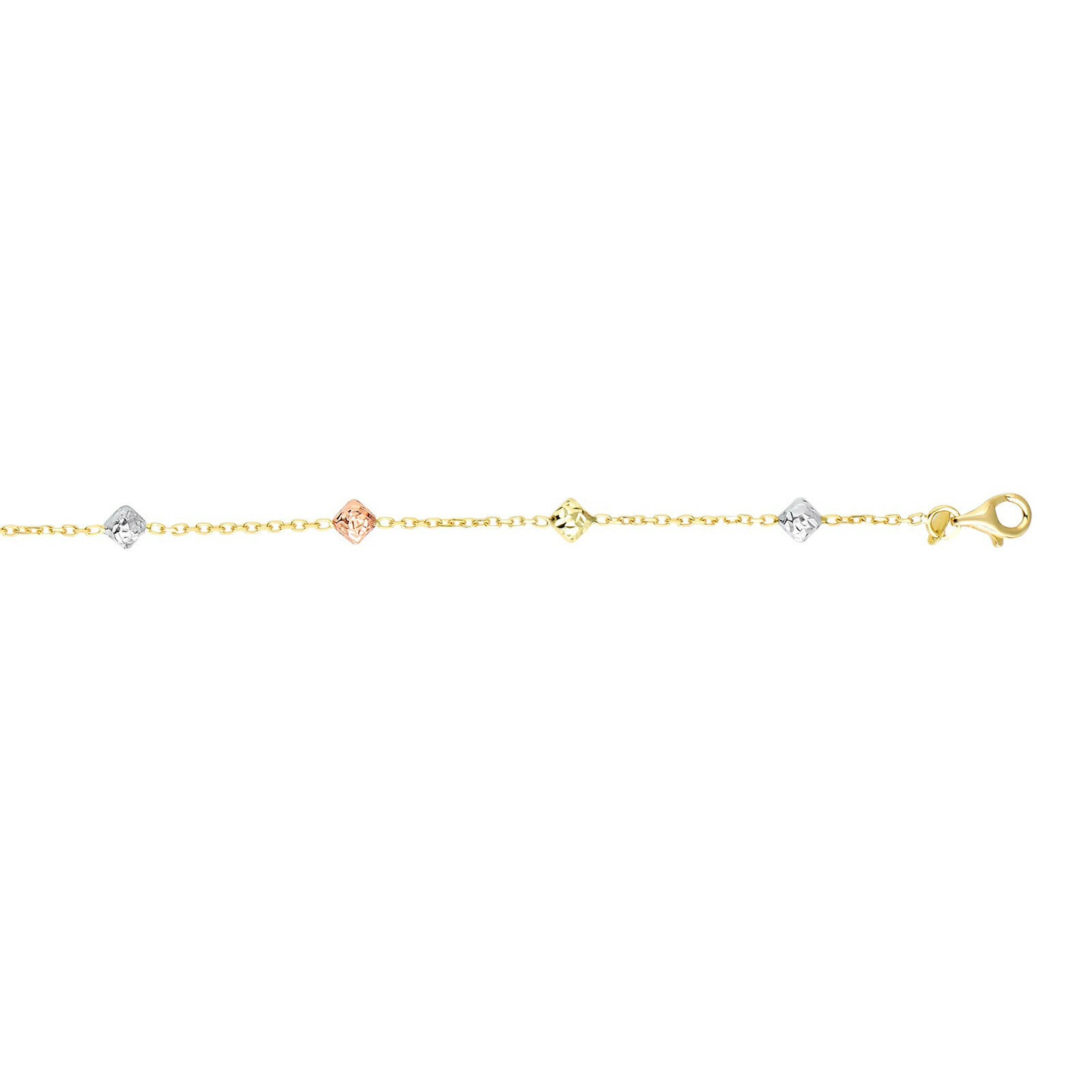14k Yellow pink White gold 4.6mm Textured Diamond Shape Tri-color Bead Bracelet