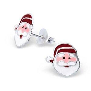 925-Sterling-Silver-Santa-Father-Christmas-Stud-Earrings-Studs-Kids-Girls-Women