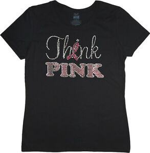 think pink breast cancer awareness month ribbon ladies tee. Black Bedroom Furniture Sets. Home Design Ideas