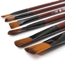 6pcs/1 Paint Brushes Set Nylon Brush for Oil Watercolor Artist Painting Art NEW