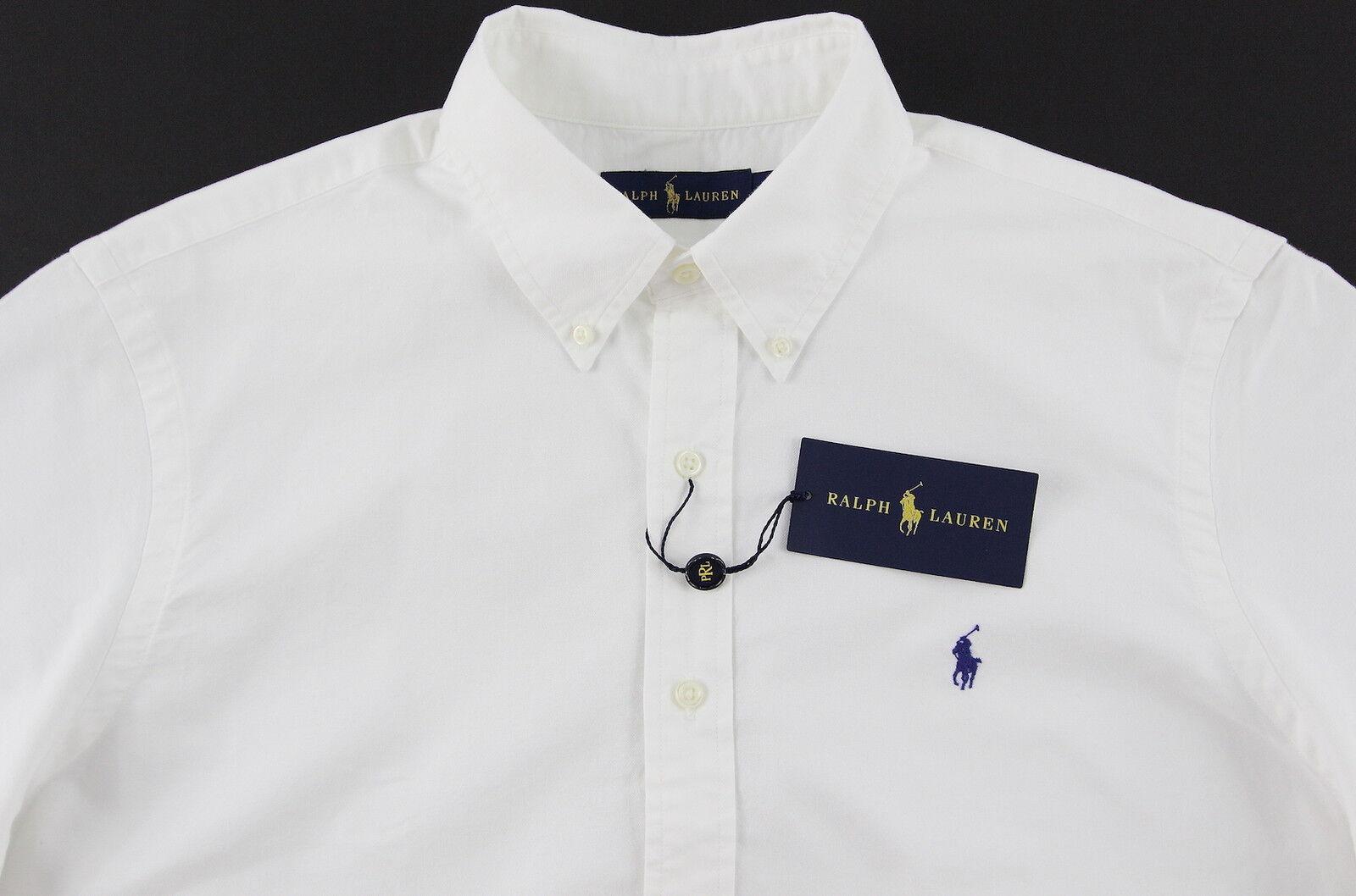 Men's RALPH LAUREN White Short Sleeve S S Shirt L Large NWT NEW bluee Pony