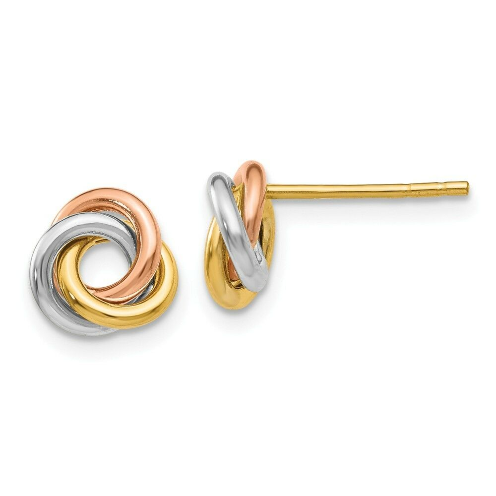 14kt Tri-color Twisted Knot Post Earrings