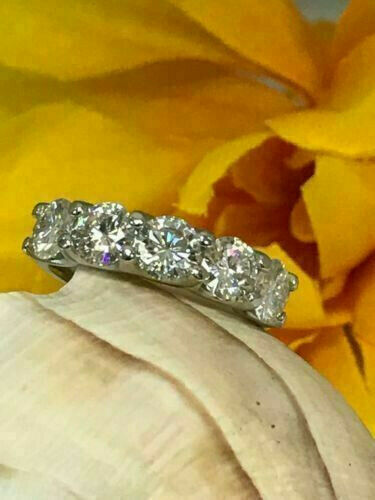 Details about  /5 Stone Round Diamond 2.00 Ct Wedding Anniversary Band Ring 14k White Gold Over