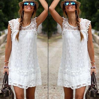 Women Celeb Lace Party Evening Summer Ladies Dress Shorts Mini Dress Top White
