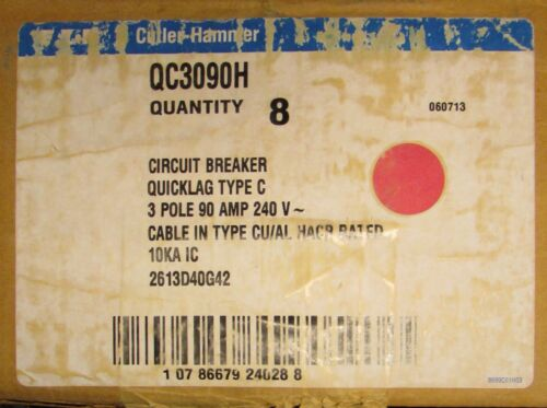 EATON CUTLER HAMMER Type QC QCH QUICKLAG Circuit Breaker 3 Pole 90 Amp QC3090H