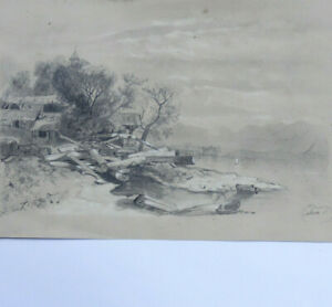 Winter-landscape-at-the-edge-of-a-lake-original-drawing-old-19e-century-signed-m-b