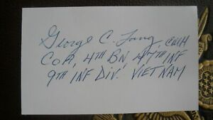 Sp4 GEORGE C. LANG, USA Vietnam Medal of Honor Signed 3x5 MOH CMH