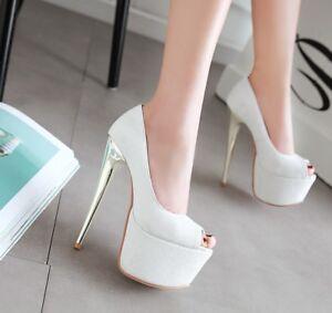 Women-039-s-High-Heel-Peep-Toe-Platform-Pumps-Party-Shoes-AU-Plus-Size-2-13-L120