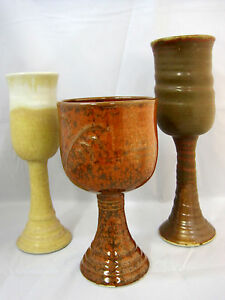 Pottery-Pedestal-Wine-Goblets-Artist-Signed-Lot-of-3-Brown-Yellow