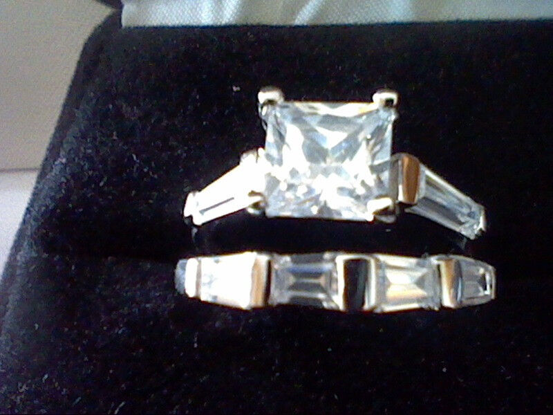 PLATINUM & SS PRINCESS & BAGUETTE LCS DIAMOND WEDDING ENGAGEMENT RING SET SZ 10