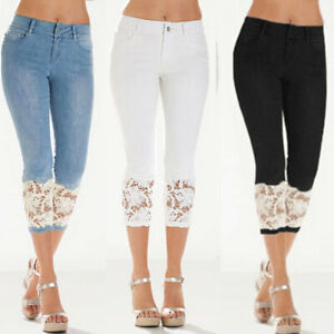 Women-Lace-Skinny-Denim-Capri-Pants-Cropped-Trousers-Skin-Tight-Stretch-Jeans