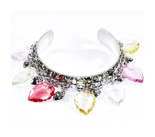 métal argenté coeurs BRACELET rigide Création Flora feuilles bijoux fantaisie