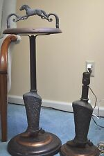 COPPER BRASS VINTAGE COWBOY BOOT SMOKING STAND and COWBOY BOOT LAMP Estate Find