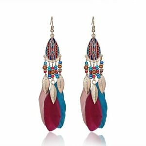 2020-Bohemia-Boho-Beads-True-Feather-Hook-Drop-Dangle-Earrings-Womens-Jewellery