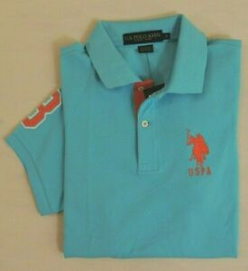 US-Polo-ASSN-Big-Pony-Short-Sleeves-Striped-Collar-Classic-Mesh-Shirt-M-L-XL-XXL