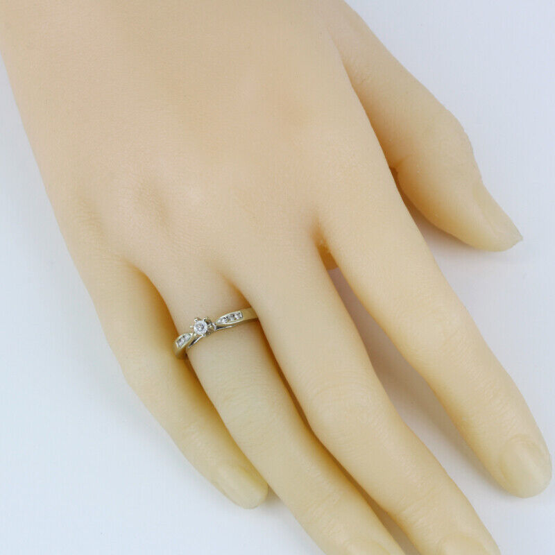 14k Gold Diamond Solitaire Ring w/ Accents - image 6