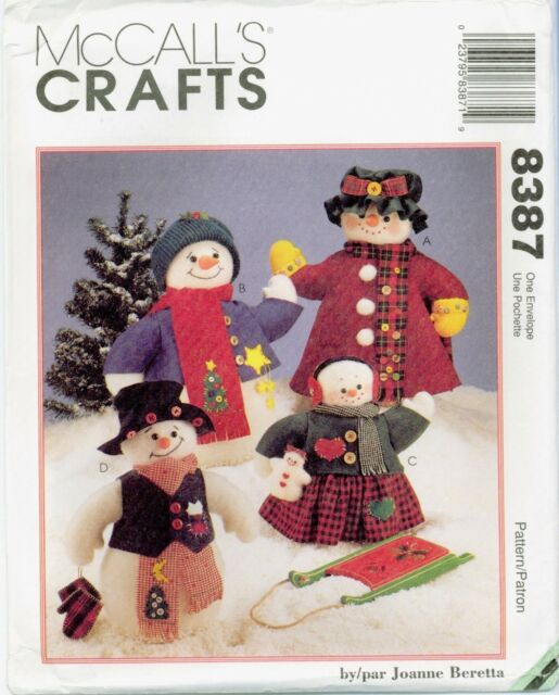 Mccalls 8387 Snow Family Christmas Craft Sewing Pattern Ebay