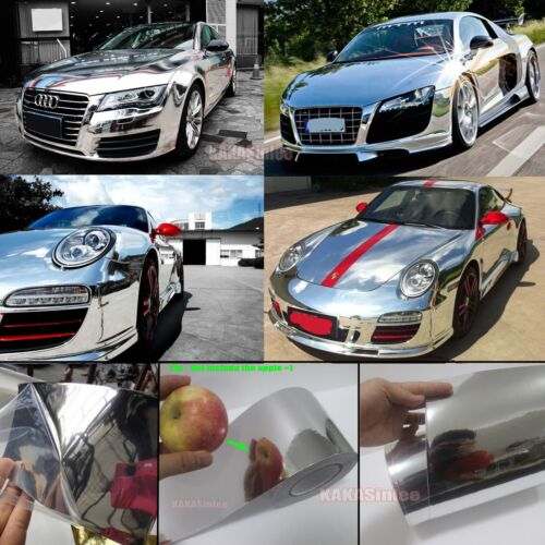 Bubbles Free Full Car Wrap Hood Glossy Mirror Chrome PVC Vinyl Sticker Decal AB