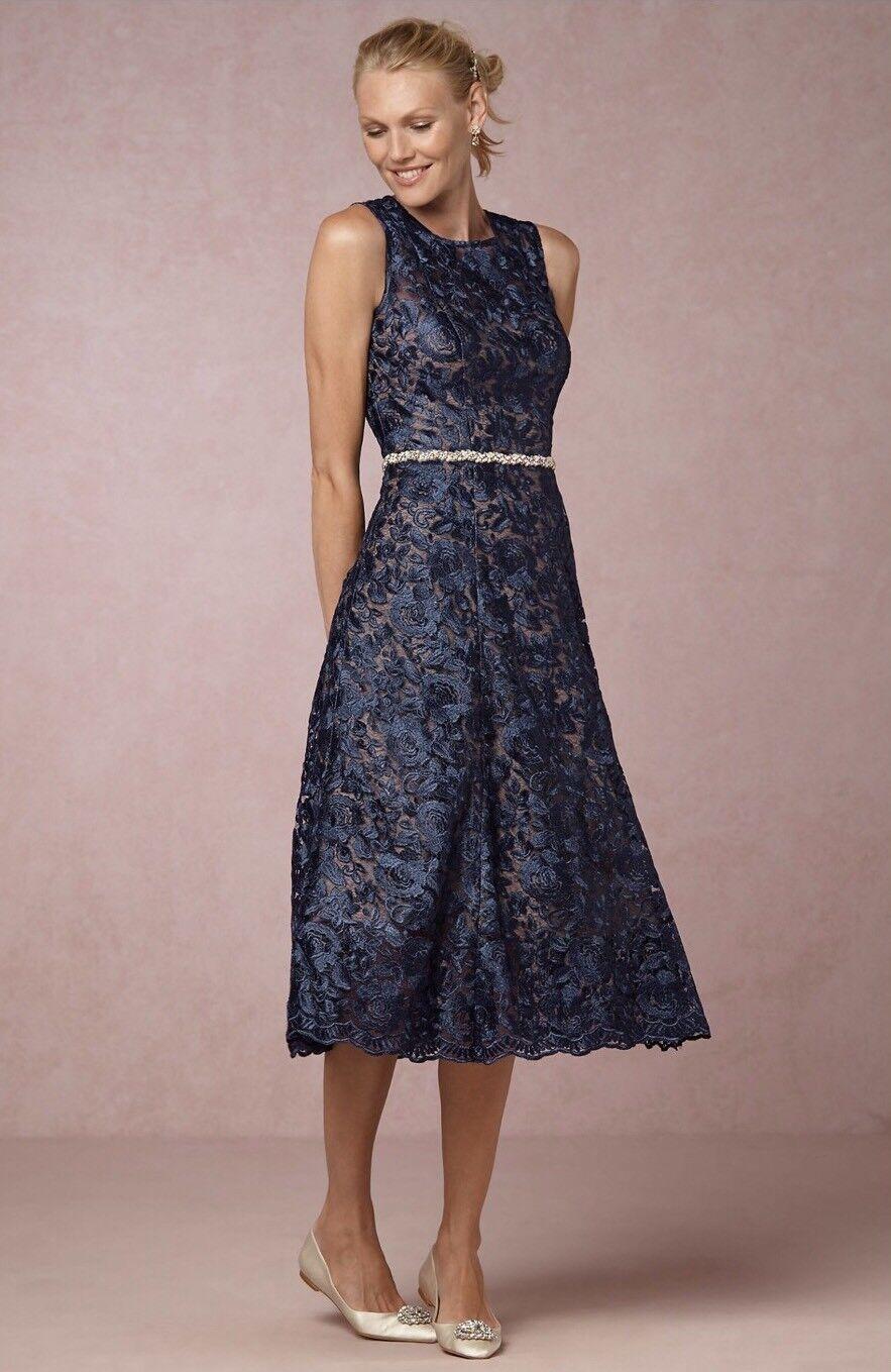 7c5bfbb4a10 BHLDN Anthropologie Hitherto Adela Navy Lace Dress 8 NEW Size ...