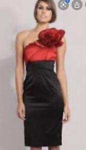 GORGEOUS-KAREN-MILLEN-satin-signatur-corsage-one-shoulder-dress-Size-12-RRP-225