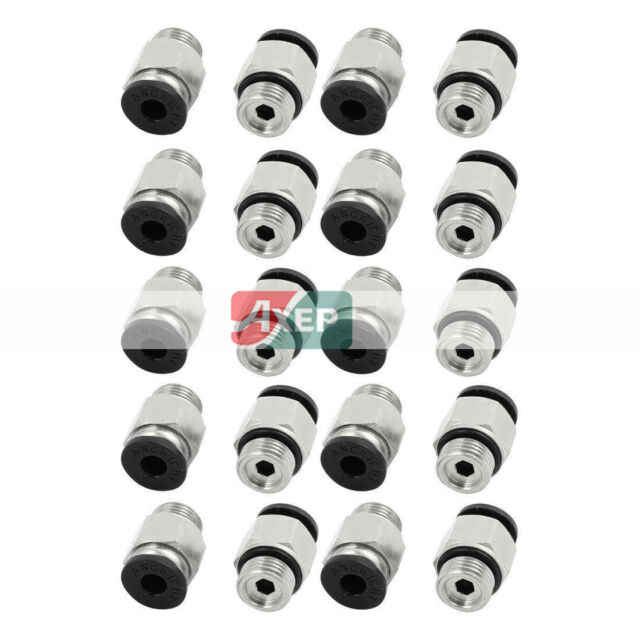 """A● 20Pcs 1/8"""" PT Male Thread 4mm Push In Joint Pneumatic Connector Quick"""