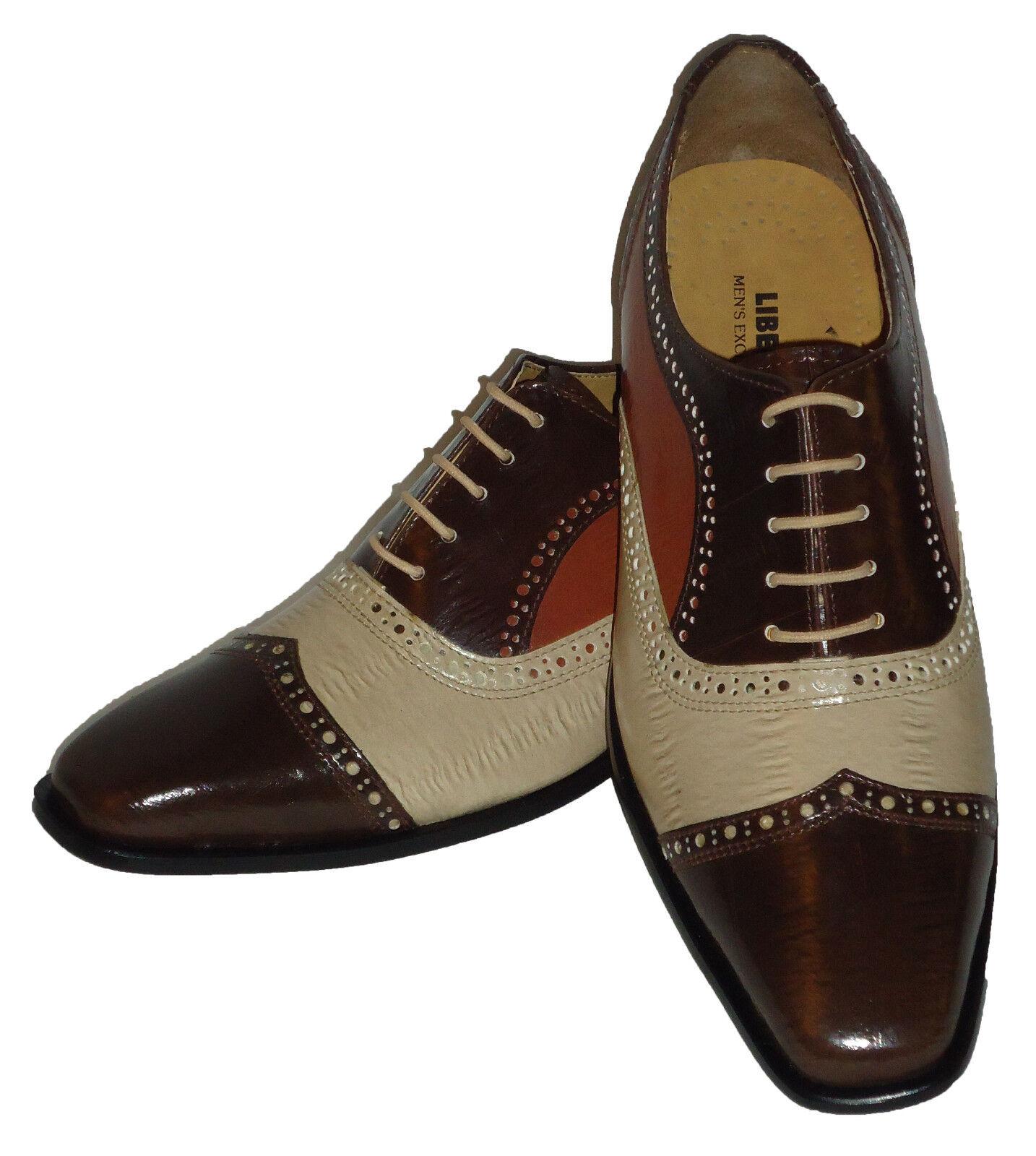Liberty LS1047 Mens Spectator Fashion Dress Shoes Most Elegant Brown Trio