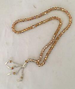 Islamic-Prayer-Beads-Misbaha-Tasbih-Crystal-worry-beads-99-Gold